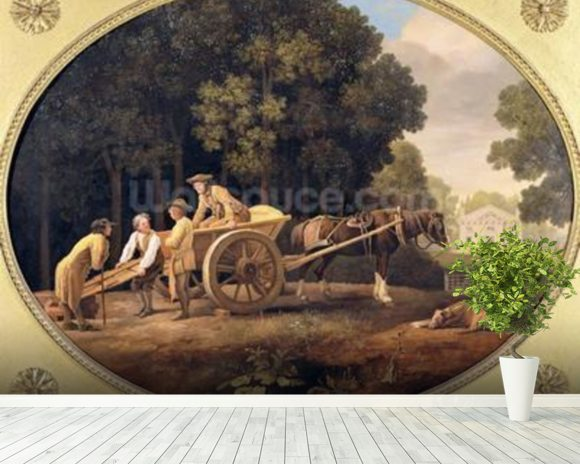 Labourers, 1781 (enamel on Wedgwood biscuit earthenware) mural wallpaper room setting