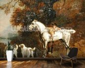 Huntsman with a Grey Hunter and Two Foxhounds: details from the Goodwood Hunting picture, 1760-61 (oil on four pieces of paper conjoined on canvas) mural wallpaper kitchen preview