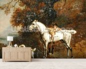 Huntsman with a Grey Hunter and Two Foxhounds: details from the Goodwood Hunting picture, 1760-61 (oil on four pieces of paper conjoined on canvas) mural wallpaper living room preview
