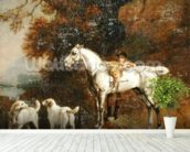 Huntsman with a Grey Hunter and Two Foxhounds: details from the Goodwood Hunting picture, 1760-61 (oil on four pieces of paper conjoined on canvas) mural wallpaper in-room view