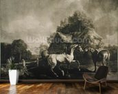Stallion and Mare, engraved by George Townley Stubbs (1756-1815) 1776 (mezzotint) wall mural kitchen preview