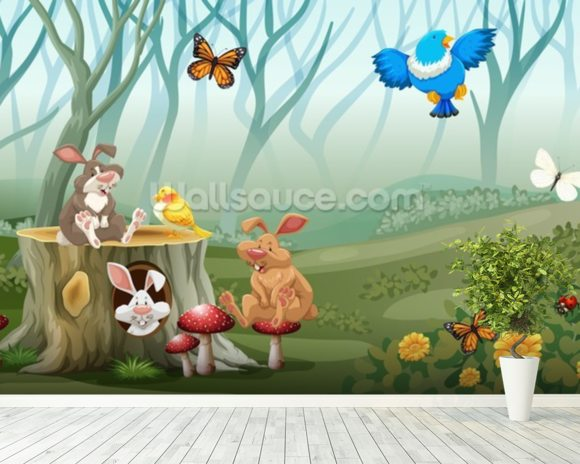 Rabbits and Birds Forest wallpaper mural room setting