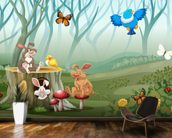 Rabbits and Birds Forest wallpaper mural kitchen preview