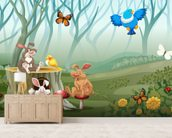 Rabbits and Birds Forest wallpaper mural living room preview