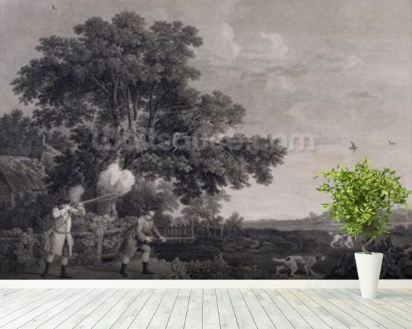 Shooting, plate 3, engraved by William Woollett (1735-85) 1770 (engraving with etching) mural wallpaper room setting