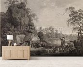 Shooting, plate 1, engraved by William Woollett (1735-85) 1769 (fifth state engraving and etching) mural wallpaper living room preview
