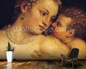 Venus Delighting herself with Love and Music, 1545 (oil on canvas) (detail of 38586) wallpaper mural kitchen preview