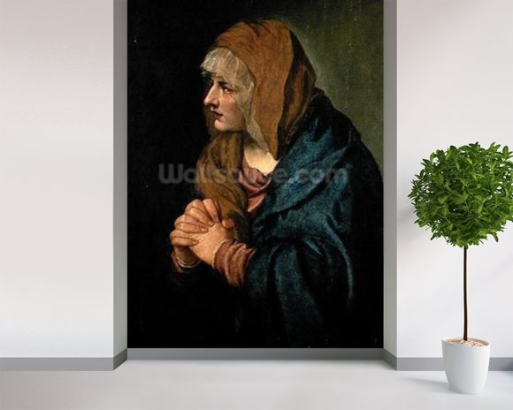 The Madonna of Sorrows (oil on canvas) mural wallpaper room setting