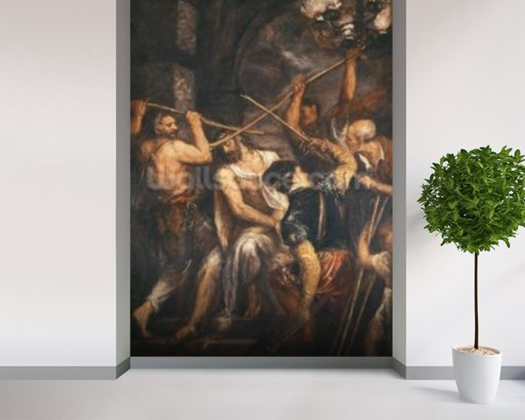 Christ Crowned with Thorns (oil on canvas) wall mural room setting