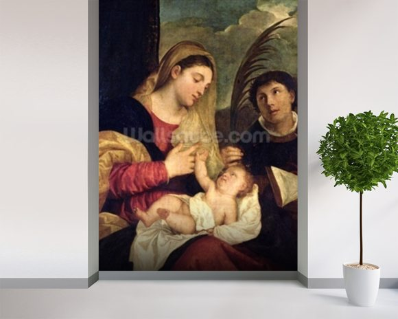 Madonna and Child with SS. Stephen, Jerome and Maurice (oil on canvas) (detail of 108505) mural wallpaper room setting
