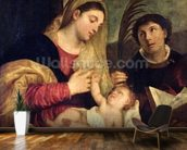 Madonna and Child with SS. Stephen, Jerome and Maurice (oil on canvas) (detail of 108505) mural wallpaper kitchen preview