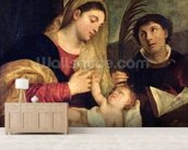 Madonna and Child with SS. Stephen, Jerome and Maurice (oil on canvas) (detail of 108505) mural wallpaper living room preview