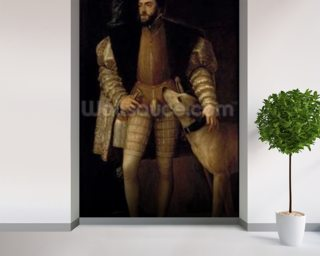 Charles V (1500-58) Holy Roman Emperor and King of Spain with his Dog, 1533 (oil on canvas) wall mural