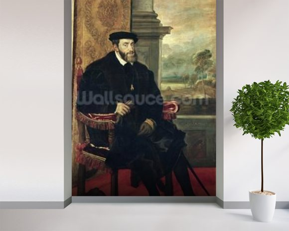 Seated Portrait of Emperor Charles V, 1548 (oil on canvas) wallpaper mural room setting