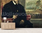 Seated Portrait of Emperor Charles V, 1548 (oil on canvas) wallpaper mural living room preview