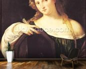 Allegory of Vanity, or Young Woman with a Mirror, c.1515 (oil on canvas) wall mural kitchen preview
