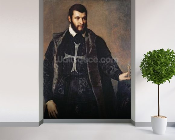 Portrait of a Knight of the Order of Malta (oil on canvas) mural wallpaper room setting