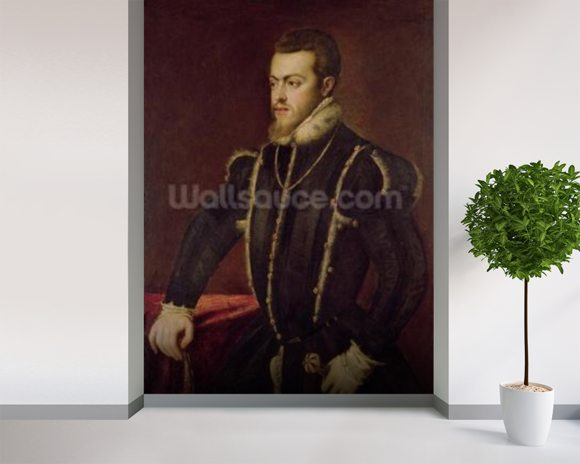 Portrait of Philip II (1527-98) of Spain (oil on canvas) wall mural room setting