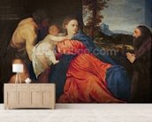 Virgin and Infant with Saint John the Baptist and Donor (oil on canvas) wallpaper mural living room preview
