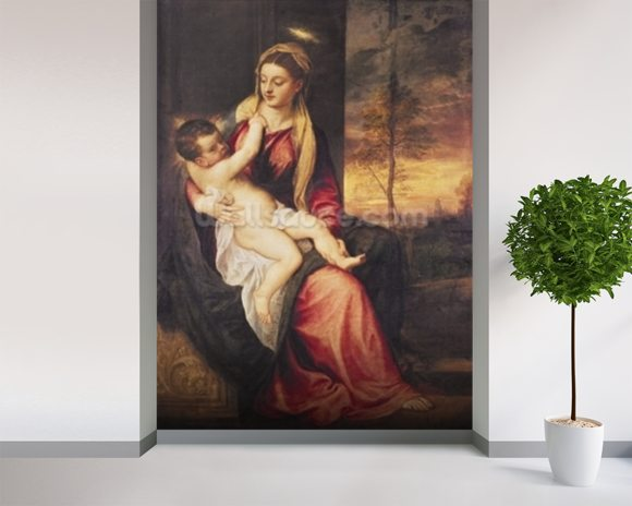 Virgin with Child at Sunset, 1560 (oil on canvas) mural wallpaper room setting