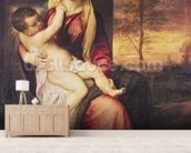 Virgin with Child at Sunset, 1560 (oil on canvas) mural wallpaper living room preview
