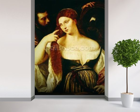 Woman Combing her Hair (oil on canvas) wallpaper mural room setting