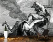 Cain slaying Abel, engraved by Johann Gottfried Seuter, c.1749 (etching) mural wallpaper kitchen preview