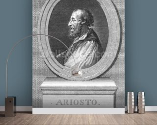Portrait of Ludovico Ariosto (engraving) (b/w photo) mural wallpaper