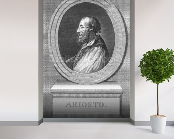 Portrait of Ludovico Ariosto (engraving) (b/w photo) mural wallpaper room setting