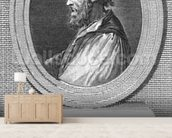 Portrait of Ludovico Ariosto (engraving) (b/w photo) mural wallpaper living room preview