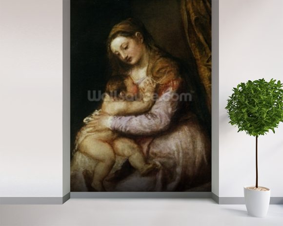 The Virgin and Child, c.1570-76 (oil on canvas) wall mural room setting