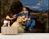 The Virgin and Child with Saints, 1532 (oil on canvas) wallpaper mural living room preview