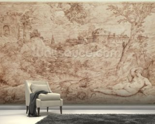 Landscape with a Dragon and a Nude Woman Sleeping (pen & ink and wash on paper) mural wallpaper