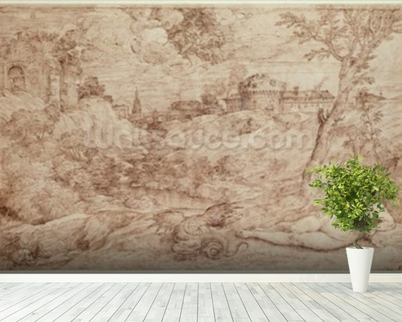 Landscape with a Dragon and a Nude Woman Sleeping (pen & ink and wash on paper) mural wallpaper room setting