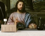 The Supper at Emmaus, c.1535 (oil on canvas) (detail of 34377) wall mural living room preview