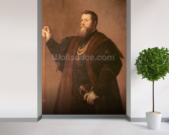 Portrait of a Knight of the Order of Santiago, 1542 (oil on canvas) mural wallpaper room setting