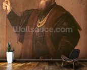 Portrait of a Knight of the Order of Santiago, 1542 (oil on canvas) mural wallpaper kitchen preview