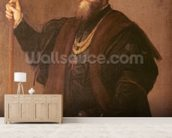 Portrait of a Knight of the Order of Santiago, 1542 (oil on canvas) mural wallpaper living room preview