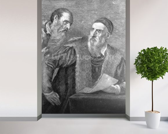 Portrait of Titian painted by himself with his friend Don Francesco del Mosaico (etching) wall mural room setting
