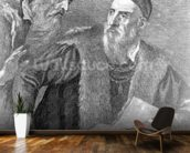 Portrait of Titian painted by himself with his friend Don Francesco del Mosaico (etching) wall mural kitchen preview