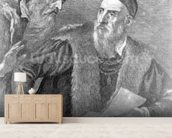Portrait of Titian painted by himself with his friend Don Francesco del Mosaico (etching) wall mural living room preview