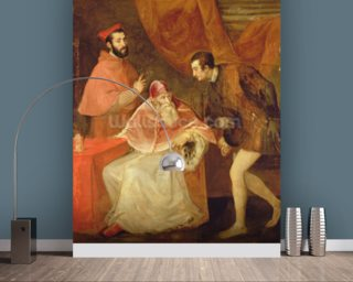 Pope Paul III (1468-1549) and his Nephews, 1545 (oil on canvas) wallpaper mural