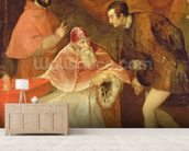 Pope Paul III (1468-1549) and his Nephews, 1545 (oil on canvas) wallpaper mural living room preview