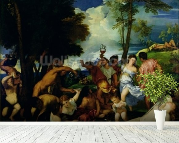 The Andrians, c.1523-4 (oil on canvas) mural wallpaper room setting