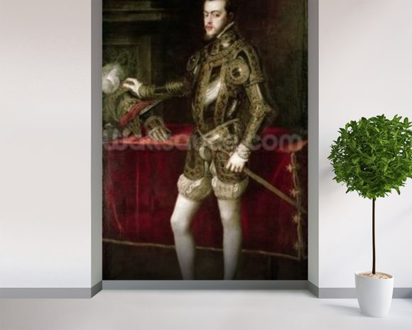 King Philip II (1527-98) 1550 (oil on canvas) wall mural room setting
