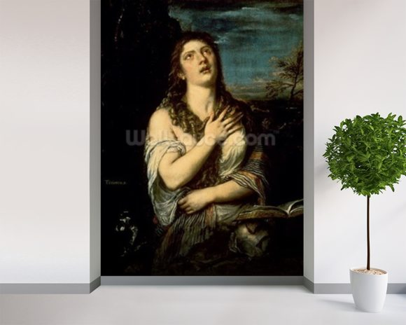 Mary Magdalene, c.1561 (oil on canvas) wallpaper mural room setting