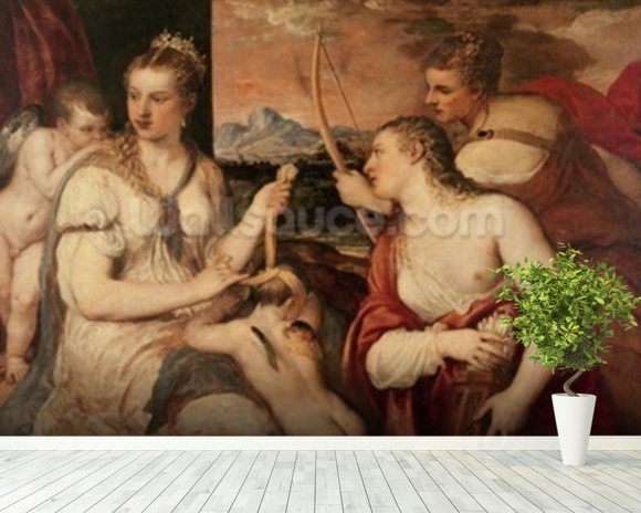 The Education of Cupid, c.1565 (oil on canvas) mural wallpaper room setting