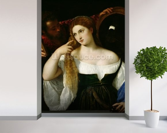 Portrait of a Woman at her Toilet, 1512-15 (oil on canvas) wallpaper mural room setting