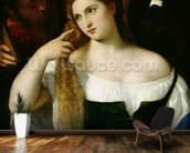 Portrait of a Woman at her Toilet, 1512-15 (oil on canvas) wallpaper mural kitchen preview