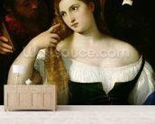 Portrait of a Woman at her Toilet, 1512-15 (oil on canvas) wallpaper mural living room preview